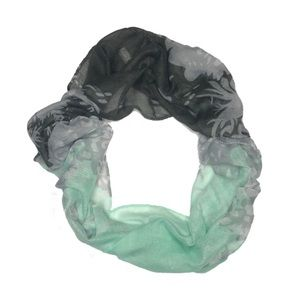 Charming Charlie Teal Blue & Gray Floral Scarf